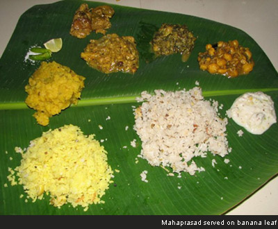 Mahaprasad served on banana leaf
